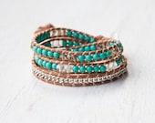 Bohemian Wrap Bracelet - Teal Turquoise - Bohemian Jewelry