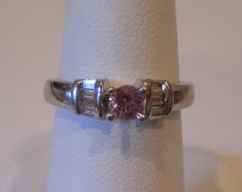 Platinum Diamond and Pink Montana  Sapphire Ring