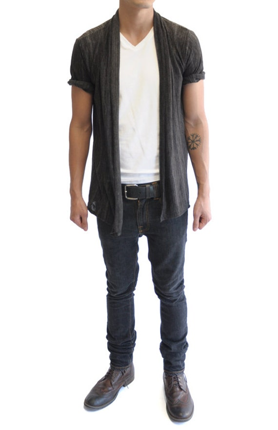 Short Sleeve Cardigan With Hanging Front Panels