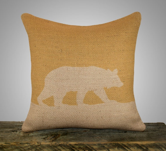 Burlap Throw Pillows Etsy : Items similar to Bear Pillow Cover, Mustard Yellow Burlap Throw Pillow, Decorative Pillow ...