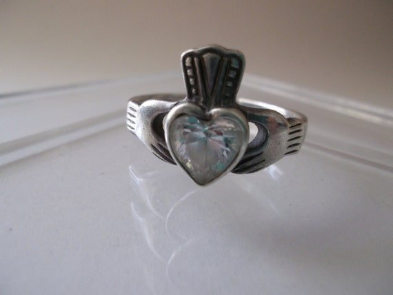 vintage 925 sterling silver cz claddagh by