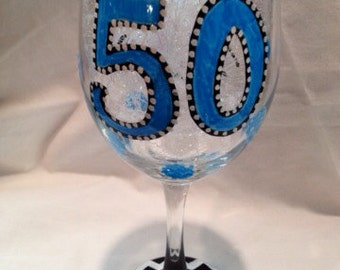 50th Birthday Wine Glass Hand Painted Personalized