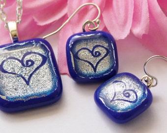 Handmade Dichroic Glass Pendant and Earring Set - Silver Heart - Summer Cobalt Blue