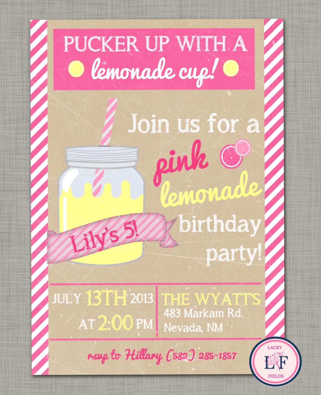 Pink lemonade birthday invite Summer birthday party by