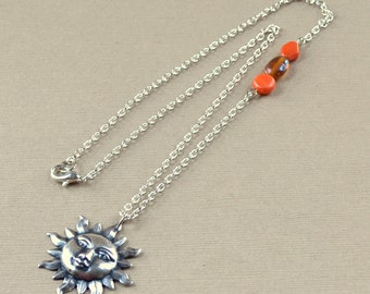 Sun Silver Boho Pendant Orange 3 Side Beads Bohemian Necklace Sunshine Spring Summer Beach Vacation Fashion Jewelry Jewellery Free Shipping