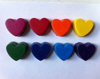 Set of 8 Eco-Friendly Heart Crayons