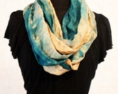 Teal & Caramel Two Tone Hand Dyed Silk Infinity Scarf OOAK RTS