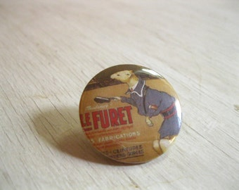 French Ferret Pinback Button | Ferret Gift Magnet | Weasel Pin | Ferret Patch | Fridge Magnet | Furet | France Travel Pin | Bohemian Button
