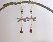 Ruby Swarovski Crystal Rhinestone Dragonfly Earrings - 925 Sterling Silver Earwires