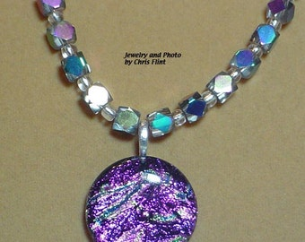 """Sparkiling purple Dichrotic Glass pendant on 20"""" faceted AB finished glass cube bead necklace - N085"""