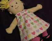 Little Reversible Dress in Remix Hearts and Pink Pindot for Baby Stella, Waldorf and 13 14 15 16 In Dolls, DollClothes