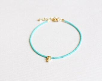tiny skull turquoise bracelet - dainty friendship bracelet, minimalist jewelry  / gift for her under 20usd