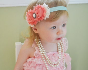 Shabby chic Baby Headband, Toddler Headband, Newborn headband, Newborn photo prop, coral flowers, aqua headband