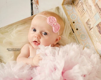 Pink bow headband, Baby headband, infant headband, Newborn headband, Toddler Headband, Baby Hair bow, Newborn Photo Prop. Baby accessories