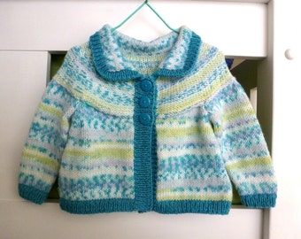Baby girl cardigan | hand knitted sweater | cardigan with stripes aqua, mauve and lime | Handknit baby girl clothes fit 6 months