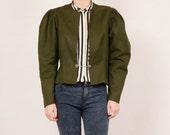 Vintage olive green flex jacket national costume fluffy sleeves women size medium
