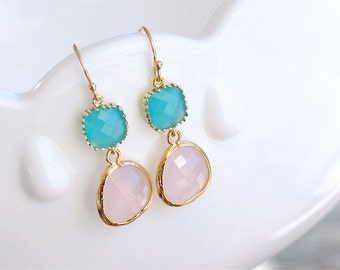 Pink and Blue Earrings in Gold - Aqua Pink Bridesmaid Earrings - Gift For Her - Turquoise Pink Wedding Jewelry, Bridesmaid Jewelry