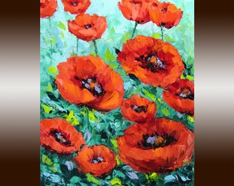 """Poppy Flower Original Oil Painting - Palette Knife Textured Impasto on Small Canvas 8x10"""" - Red Poppies"""