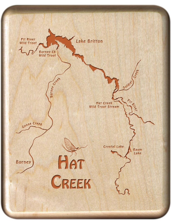 Hat creek river map fly fishing fly box custom engraved and for Hat creek fishing