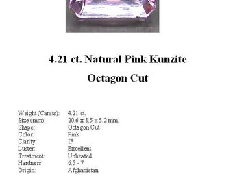 KUNZITE - Absolutely Stunning Pale Pink 4.21 ct. Kunzite GemStone in a Beautiful Faceted Octagon Cut...