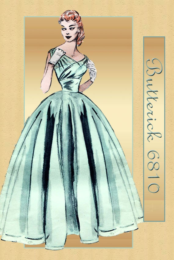 1950s Evening Gown Pattern Vintage Butterick 6810 Stunning