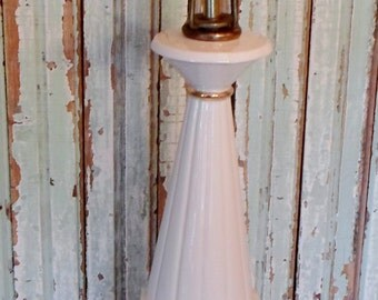 Vintage Mid Century Modern White and Gold Ceramic Lamp With Brass, Table Lamp, Lighting, Hollywood Regency, Atomic, Flower