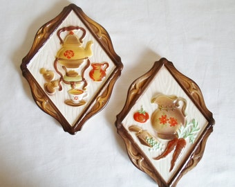 Vintage Pair of Lefotn Ceramic Wall Hangings, Kitchen, Flower, Green, Red, Yellow, Brown, White, Cottage Chic, Made in Japan