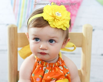Bright Yellow Baby Headband, Infant Headband. Toddler Headband, Girls Headband - Bright Yellow Peony Headband
