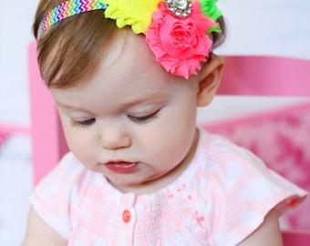 Neon Baby Headband, Infant Headband, Newborn Headband, Shabby Chic Headband Triple Rosettes Neon Lime, Yellow, and Pink on Chevron Elastic