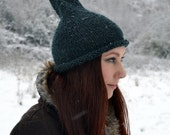 SALE! Forest Green Gnome Hat, Handknit in Silky Soft Merino  for Winter Woodland Adventures