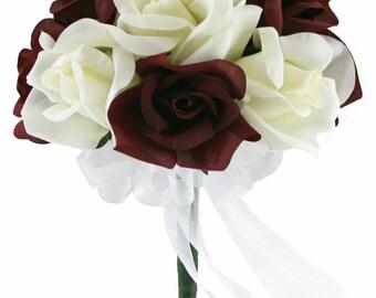 Burgundy and Ivory Silk Rose Toss Bouquet - Silk Wedding Toss Bouquet