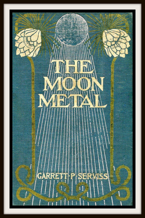 Book Cover Art Etsy ~ Items similar to vintage book cover quot the moon metal by