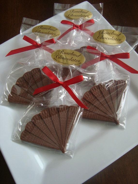 12 Chocolate Fan Favors Spanish Mexican Japanese Geisha Wedding Anniversary
