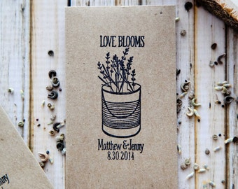 150 Customized Eco-Friendly Love Blooms Wedding Seed Favor Envelopes