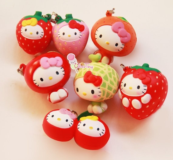 Squishy Collection : Items similar to Rare Hello Kitty in Fruit Costumes Collection Squishy Charm (Licensed) on Etsy