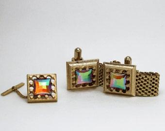 Gorgeous Vintage Rainbow Rhinestone Wrap Cufflinks and Tie Tack Set