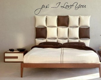 """Large Girls Bedroom Vinyl Wall Decal-p.s. I Love You -12""""H x 50""""W-Wall Words-Wall lettering-Vinyl wall sticker-Wall mural"""