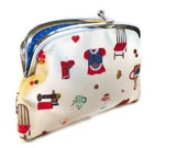 Large Coin purse - Cream metal frame wallet with 2 compartments - cute kawaii and Blue polka dots