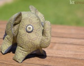 Green Elephant Softie - Vintage Material