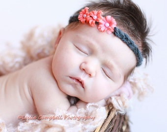 Newborn Coral and Gray Flower tie back headband Halo Photography Prop