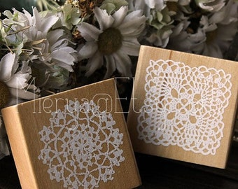 Lace Stamp Set - Wooden Rubber Stamps -Korean Stamps - 2 pcs