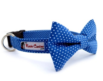 Polka Dot Dog Collar (Royal Blue & White) (Dog Collar Only - Matching Bow Tie Available Separately)