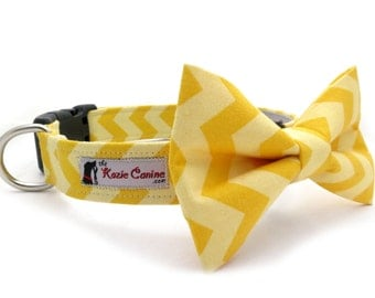 Yellow Chevron Dog Collar (Dog Collar Only - Matching Bow Tie Available Separately)
