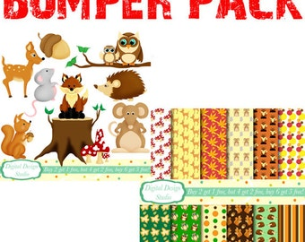 Woodland friends clip art and paper bumper pack. INSTANT DOWNLOAD Personal and commercial use.