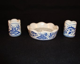 Dutch Delft Blue Candle Holders and Votive Holder, Blue and White,  [Drw]