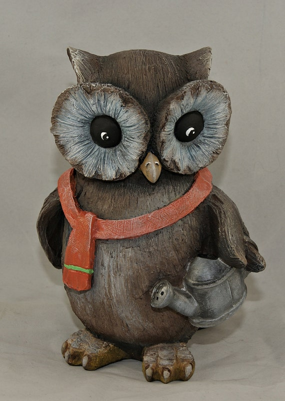 Hand painted resin owl figurine lawn ornament garden decor for Decorative lawn ornaments