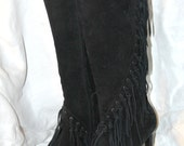 Knee High Suede Boots - Maker Unknown  -  Size 7.5M - Black Suede Fringe Boots
