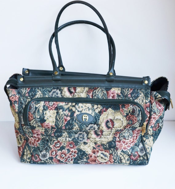 Vintage Etienne Aigner Luggage Carry On Duffle Bag Floral