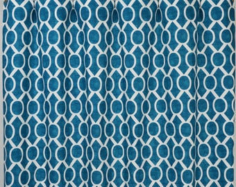 Aquarius Blue White Modern Honeycomb Sydney Curtains - Rod Pocket - 84 96 108 or 120 Long by 25 or 50 Wide - Optional Blackout Lining