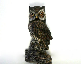 Ceramic Owl - 9 inches -Hand painted, north american wildlife